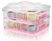 DuraCasa Cupcake Carrier | Cupcake Holder | Store up to 24 Cupcakes or 2 Large Cakes | Stacking Cupcake Storage Container | Cupcake, Cookie, or Cake Dessert Carrier