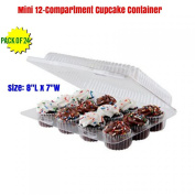 mini 12 Compartment Cupcake Container -Cupcake Boxes, Hinged Lid- with Superior Strong,12 Compartment Cupcake Boxes, BPA Free, Plastic Cupcake Container