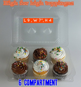 6 Compartment Cupcake boxes 6 Compartment cupcake Containers Holds 6 Cupcakes Each 6 Pack Cupcake Container 10cm High for high toppinges,