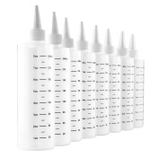 240ml Plastic Squeeze Bottles with Graduated Measurements (8-Pack); Great for Frosting, Cookie Decorating, Condiments & Crafts