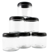 470ml Clear Plastic Jars with Black Plastic Lids (6 pack); BPA Free PET Stackable Straight Sided Canisters for Bathroom & Kitchen Storage of Dry Goods, Creams and More