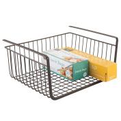 mDesign Under Shelf Hanging Wire Storage Basket for Kitchen Pantry - Bronze