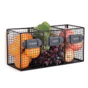 Wall Mounted Black Metal Wire 3 Bin Kitchen Pantry Organiser Basket, Mail Sorter w/ Chalkboard Labels