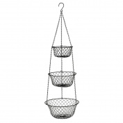 3 Tier Hanging Basket,Storage Fruits Vegetables Organiser for Kitchen Home,Black