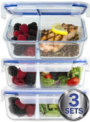 [Large Premium 3 Pack] 2 Compartment Glass Meal Prep Containers w/ New Divider Seal Tech Best Quality Snap Locking Lids Airtight 8 Pcs Glass Tupperware Set BPA-Free