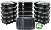 16 Pack - SimpleHouseware 2-Compartment Reusable Meal Prep Storage Container Boxes