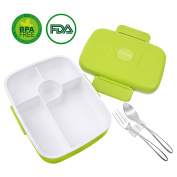 Bento Lunch Box For Kids Adults W/5 Compartment, Leakproof, Microwave Dishwasher Safe, Healthy BPA Free