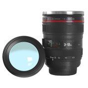 OUOH Coffee Mug with Transparent Lid Camera Lens Cup Stainless Steel Caniam 24-105mm , 350ml