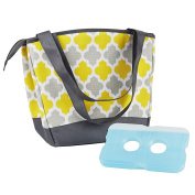 Fit & Fresh Women's Hyannis Insulated Lunch Bag with Ice Pack, Stylish Cooler Bag for Work and On-The-Go,Yellow Grey Tile