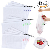 Reusable Produce Grocery Bags 12 Packs - Large, Medium & Small, ECO-Friendly Mesh Bags with Soft Pastel Colour-Coded Tags, Lightweight, See-Through, Washable for Shopping & Storage