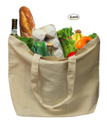 """Earthwise Organic Cotton Reusable Grocery Shopping Bags Large Machine Washable 18""""W x 14.25""""H"""
