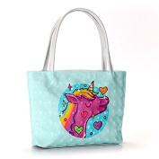 Rurah Cute Cartoon Waterproof Print Tote Shoulder bag Womens Handbag PU Leather Purse Cosmetic Bag,green