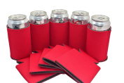 25 Red Premium Blank Can Coolers ,Collapsible can Beer Sleeves,Soft Drink, Economy Bulk, Perfect For Events,Business,BBQ