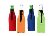 Beer Bottle Foam Sleeve - Neoprene Zipper Beer Bottle Insulated Cover Sleeve - Set of 4 Colours