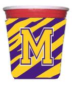 Tiger Stripe - Purple Gold Letter M Monogram Initial Red Solo Cup Beverage Insulator Hugger