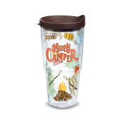 Tervis Happy Camper Wrap Clear Inner Tumbler with Brown Lid, 710ml