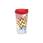 Tervis 1211879 Warner Brothers Wonder Woman Colossal Wrap Tumbler with Red Lid, 470ml, Clear