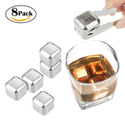 8 Packs Whisky Stones, Honfei Reusable Stainless Steel Ice Cubes, Cooling Cubes / Chilling Rocks with Ice Tongs for Non-diluting Cooling Wine Drinks, Whiskey, Vodka and Beer