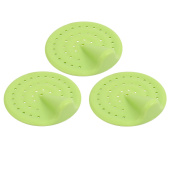 Unique Bargains 70mm Diameter TPR Flex Drain Hair Catcher Strainer Green 3pcs