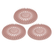 Unique Bargains 130mm Diameter TPR Rubber Drain Hair Catcher Strainer Pink 3pcs