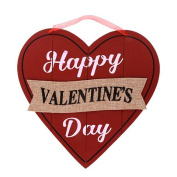 Happy Valentine's Day Wall Plaques Home Decor Decoration Red and Black Wooden-Heart Wall Decorations, 27cm .