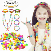 Etmact 370pcs Pop Bead Pearl Children DIY Toy Creative Building Blocks Kids Intelligence Education Toys Jewellery Making Kit for Headwear, Necklace, Earrings, Bracelets and Anklets for Kids Girls Gift T