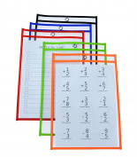 Kruideey Reusable Dry Erase Pockets, Load Sleeves for the Classroom, Home or Work, 24cm x 32cm , Heavy Duty Pocket Chart Squares in Assorted Neon Colours.