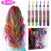 Philonext 6 Pcs Temporary Hair Chalk Set, Colourful Hair Chalk Pens, Temporary Non-Toxic Portable Hair Colouring Chalk Marker for Girls, Great Christmas Birthday Gifts Present for Girls