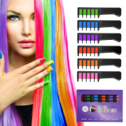 Ameauty CH02 Temporary Bright Hair Chalk Set - Built in Sealant, 6 Colours Non-Toxic Washable Hair Colour Comb for Party Cosplay DIY