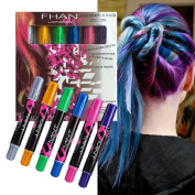 Temporary Hair Chalk Set, Non-Toxic Washable Hair Chalk Pens for Party Cosplay DIY, Works on All Hair Colours for Girls, 6 Colours