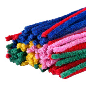 HUAJI Approx 100pcs Kids Chenille Stems DIY Crafts Toy-Assorted Colour