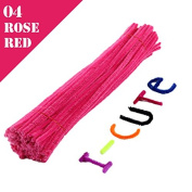 WXLAA 100pcs DIY Chenille Stems Pipe Twist Rods Cleaners Kids DIT Craft Toys Rose Red