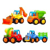 CifToys Friction Powered Cars Push and Go Toys Car Construction Vehicles Toys Set of 4 Tractor, Cement Mixer, Bulldozer & Dump Truck for Boys Baby Toddlers Kids Gift