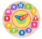 Eddo Wooden Clock Puzzle - Sorting Colours, Shapes and Numbers