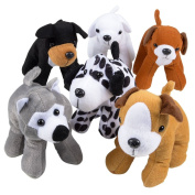 Stuffed Animals Bulk - Pack of 12 Plush Puppy Dogs Assorted Puppies 15cm Tall and Cute Stuffed Puppies Assortment for Gifts for Kids and Toddlers and Cute Party Favours - By Bedwina