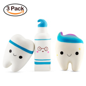 BeYumi Slow Rising Squishy, 2 Pcs Smiley Tooth & 1 Pcs Cartoon Toothpaste Cream Scented Rebound Stress Reliever Toys Charms Soft Squishy Toy