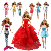 Tatuer 110PCS Barbie Doll Clothes and Accessories Include-10 PCS Clothes Party Gown Outfits +100 PCS Doll Shoes Hanger Magic wand for Girl's Birthday Xmas Gift