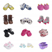 5 Pairs of Shoes + 2 Pairs of Socks Fits for 46cm Doll Shoes American Dolls Accessories 100% Get Panda Shoes and Boots or Skates