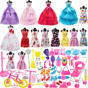 113Pcs Barbie Doll Clothes Set, 15 Pack Barbie Clothes Party Grown Outfits Dresses and 98pcs Different Doll Accessories Shoes bags Glasses Necklace Tableware for Little Girl Birthday