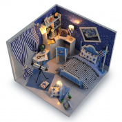 Blue Miniature DIY Wooden Dollhouse Mini Creative Room With Furniture, Accessories & Kits   Cute Elegant Dollhouse With Lights & Easy Assembly   Great Gift Idea for Birthdays,Collectors, Crafts & More
