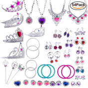 WATINC 54pcs Jewellery Toy,Girl's Jewellery Dress Up Play Set,Included Crowns, Necklaces,Wands, Rings,Earrings and Bracelets