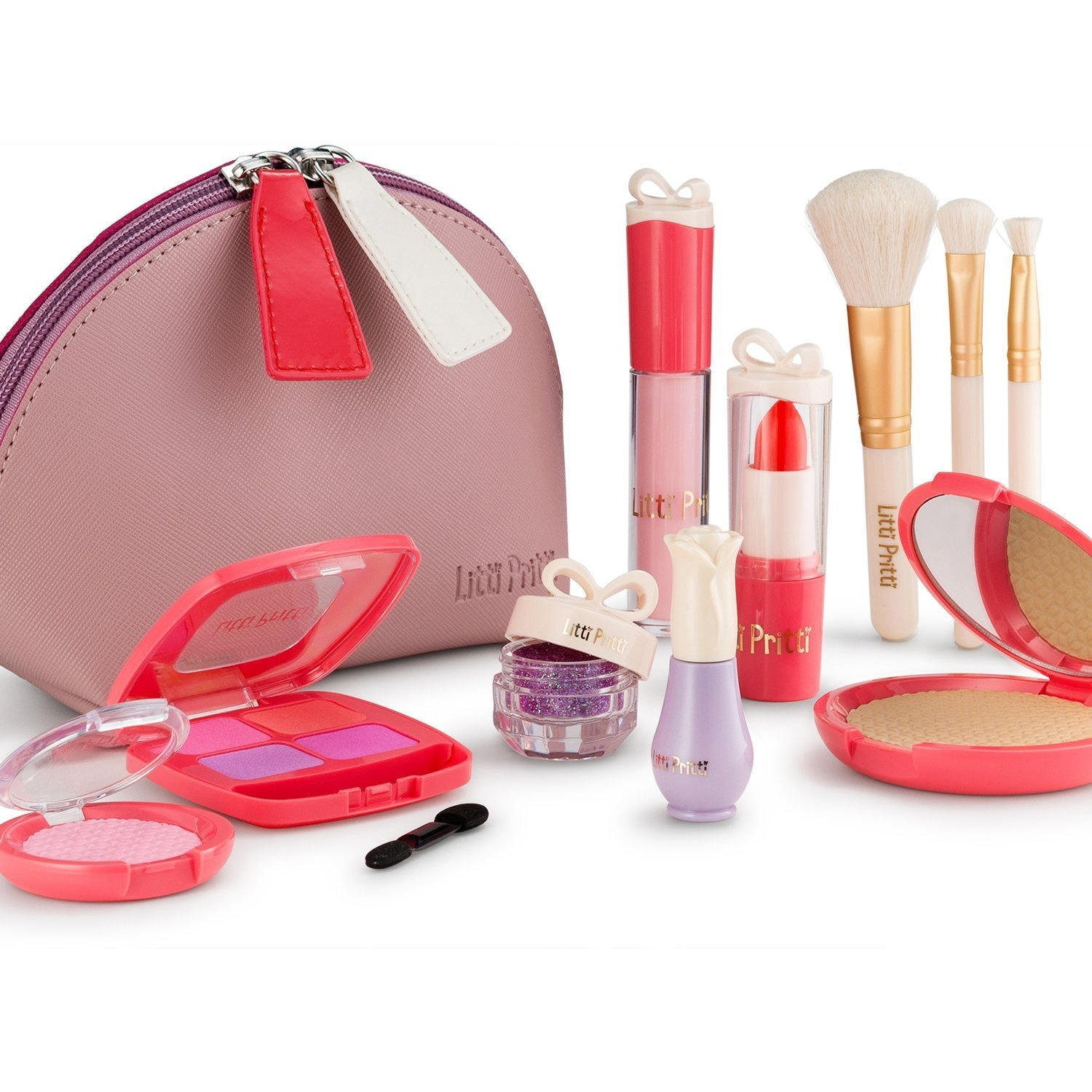 30a3df23ed2 Litti Pritti Pretend Makeup For Girls Set - 11 Piece Cosmetic Play Makeup  Kit - PU Leather Case