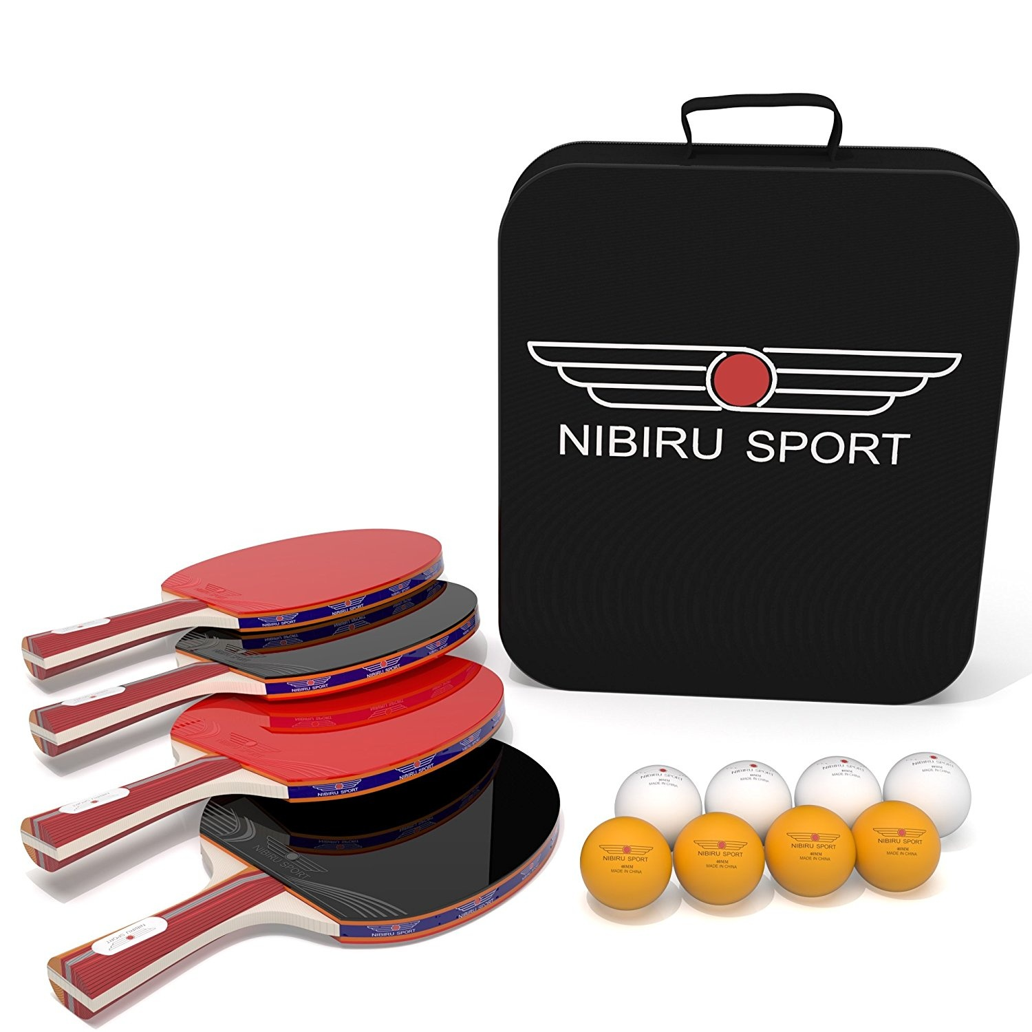 Indoor Games Table Tennis Set 4-Player Bundle 4 Ping Pong Paddles 8 ABS Tournament Level Paddles
