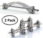 3D Metal Puzzle Models Of The Tower Bridge Of London And The Sydney Harbour Bridge - DIY Toy Metal Sheets Assembling Puzzle, 3D puzzle – 2 Pack