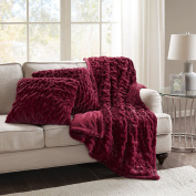 Comfort Spaces - Ruched Faux Fur Throw 130cm x 150cm with 2 Square Pillow Covers 50cm x 50cm - Red