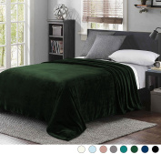 Luxury Queen Size Flannel Velvet Plush Solid Bed Blanket (230cm x 230cm , Forest Green) - Soft, Lightweight, Warm and Cosy by Exclusivo Mezcla