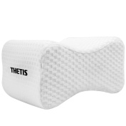 Memory Foam Knee Pillow - Leg Positioner Pillows for Sciatica Relief, Back Pain, Leg Pain, Pregnancy, Hip and Joint Pain - Orthopaedic Wedge Leg Pillow with Breathable pillowcase by Thetis Homes