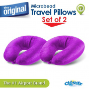 (Set of 2) Cloudz Microbead Travel Neck Pillows - Purple