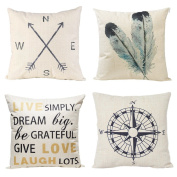 Decorative Throw Pillow Covers Set of 4 Cotton Linen Cushion Covers 46cm x 46cm