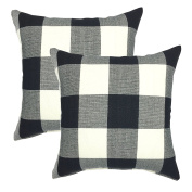 YOUR SMILE Retro Farmhouse Tartan Plaid Cotton Linen Decorative Throw Pillow Case Cushion Cover Pillowcase for Sofa 46cm x 46cm , Set of 2 , Black / White